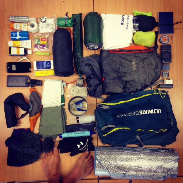 Kit laid out ready to pack the morning before the day after.